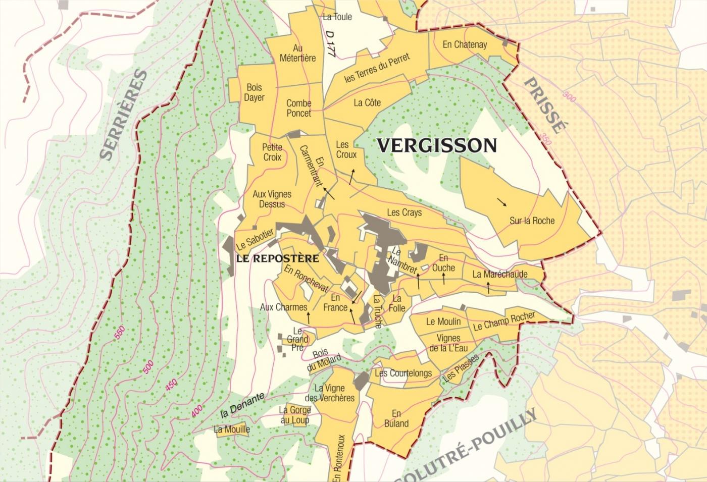 Carte parcelle vin - Pouilly-Fuissé Cuvée  «Terres de Vergisson» Bret Brothers