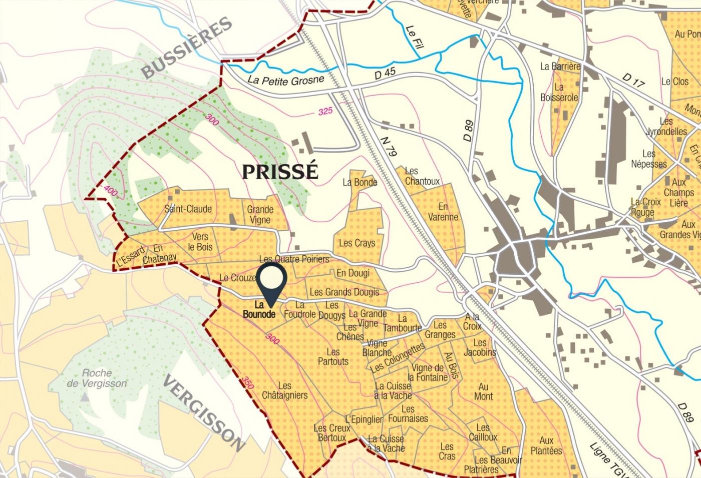 Carte parcelle vin - Saint-Véran Climat «La Bonnode» La Soufrandière